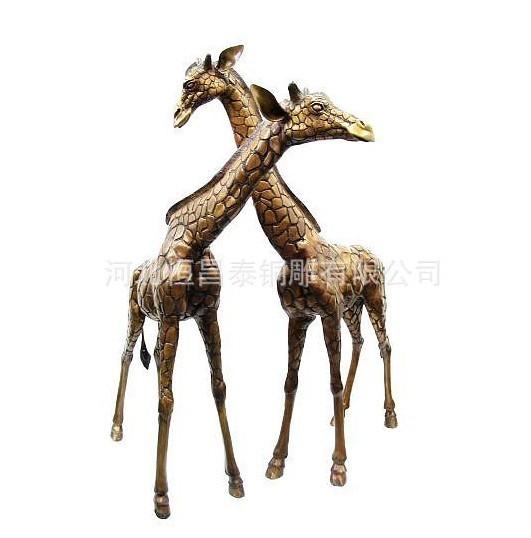 长颈鹿雕塑 梅花鹿雕塑 麋鹿铜雕 动物雕塑