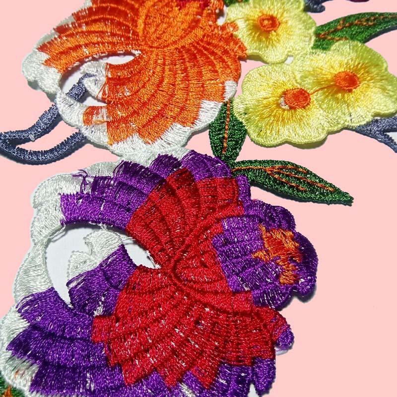 彩色涤纶花朵 衣服贴花 娄空绣花 花边