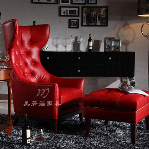 新古典红色单人椅皮沙发欧式婚房酒店休闲椅客厅沙发
