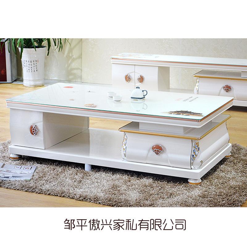 钢化玻璃实木茶几电视柜 简约现代小户型茶几电视柜组合