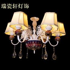 欧式 钧瓷布艺吊灯 客厅卧室餐厅福星高照6头灯饰