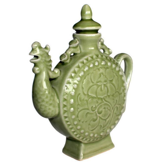 供应 耀州瓷 陶瓷工艺品凤鸣壶