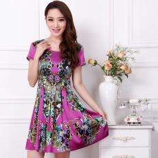 2014女装新款100%真丝连衣裙 复古印花绸缎修身褶皱短袖桑蚕丝裙