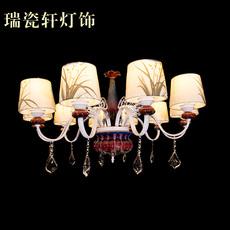 欧式 钧瓷布艺吊灯 客厅卧室餐厅君子兰头灯饰