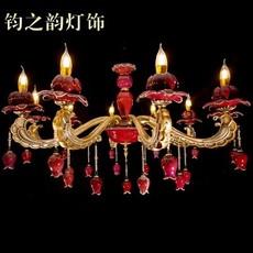 欧式 大气炉红釉钧瓷吊灯 客厅卧室餐厅落龙子6头灯饰