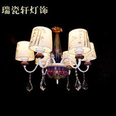 欧式 钧瓷布艺吊灯 客厅卧室餐厅红竹韵6头灯饰