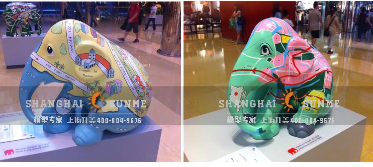 上海升美动物雕塑彩绘大象卡通模型玻璃钢雕塑户外展览美陈摆件定制