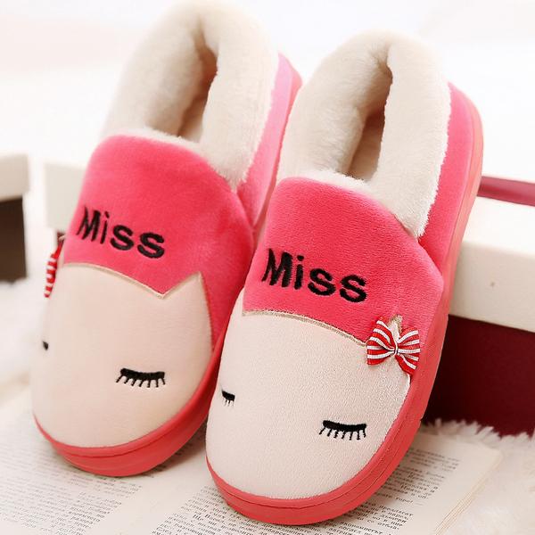 棉拖鞋男女冬季室内低包跟防滑厚底情侣居家可爱冬天