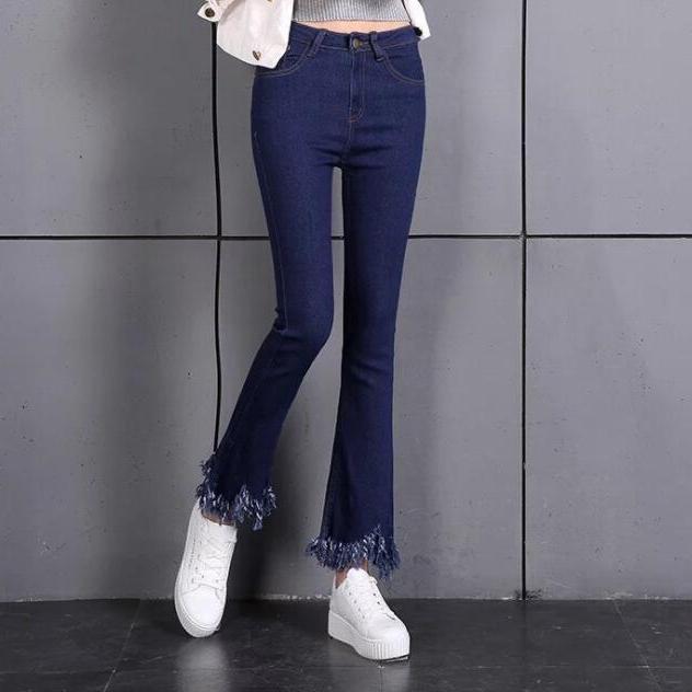 韩版高腰黑色九分喇叭牛仔裤女蓝色不规则毛边流苏显瘦微喇9分裤