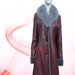 瑞生 冬季新款皮衣 真皮皮衣女中长款 狐狸毛领