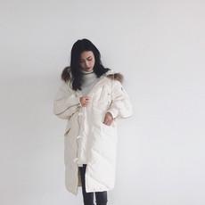 2017韩版宽松休闲羽绒服女中长款大毛领 90白鸭绒羽绒服