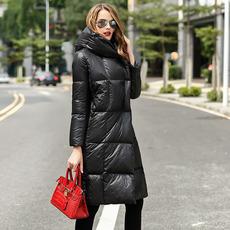 2016新款修身羽绒服女中长款外套冬季大码加厚过膝连帽羽绒服女装