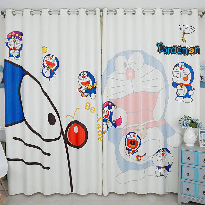 定制卡通3d数码印花简笔画大象儿童房遮光窗帘厂家–