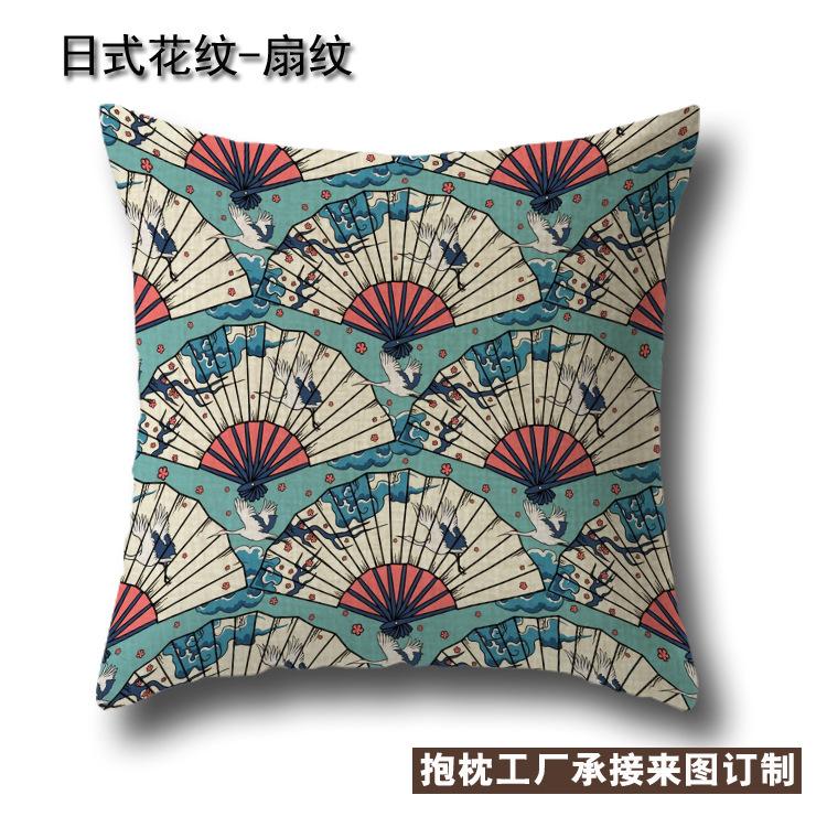 外贸抱枕 日式花纹