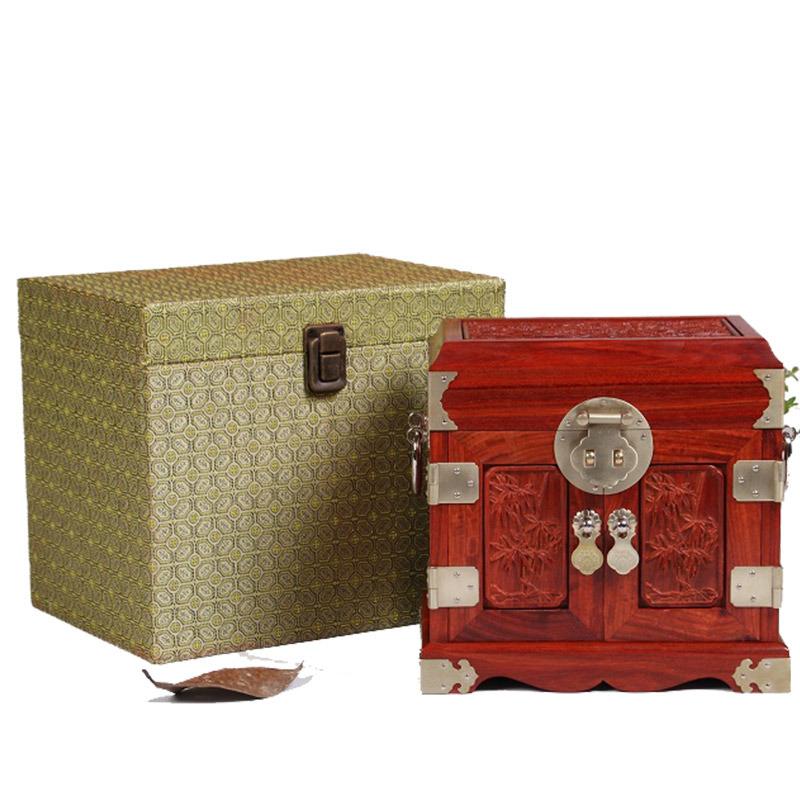 双木之家仙作红木工艺品血檀祥瑞雕花官皮箱小叶紫檀精美高档首饰盒