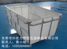 洗染加工方形塑料桶染布车 洗水行业用耐撞击防腐蚀推布车 织布厂用塑料装布车
