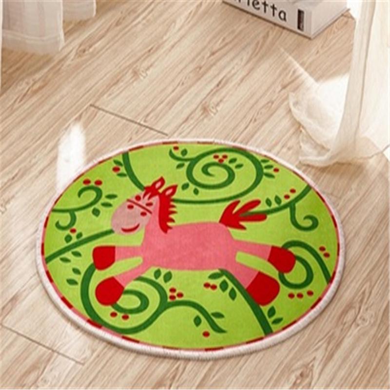 印花儿童房地毯可爱创意圆形电脑椅瑜伽防滑水洗卡通