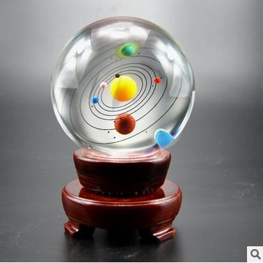 水晶球太阳系行星家具摆件办公摆件水晶工艺礼品