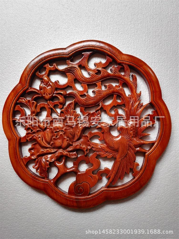 东阳木雕工艺品 香樟木挂件 实木雕花挂件 家居客厅壁