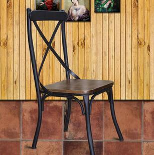 供应 美式复古铁艺餐椅家具餐厅饭店实木椅子