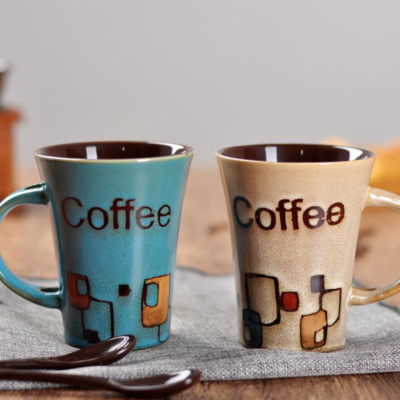 醴陵精陶 专业手绘陶瓷杯咖啡杯 简约可爱马克杯带盖带勺水杯.