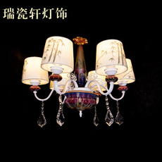 欧式 钧瓷布艺吊灯 客厅卧室餐厅荷花8头灯饰