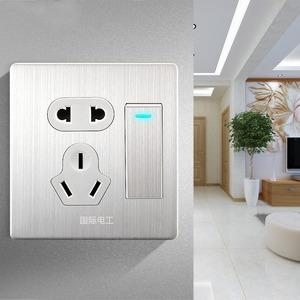 国际电工开关插座面板家用86型暗线电源带电灯开关一开五孔单控