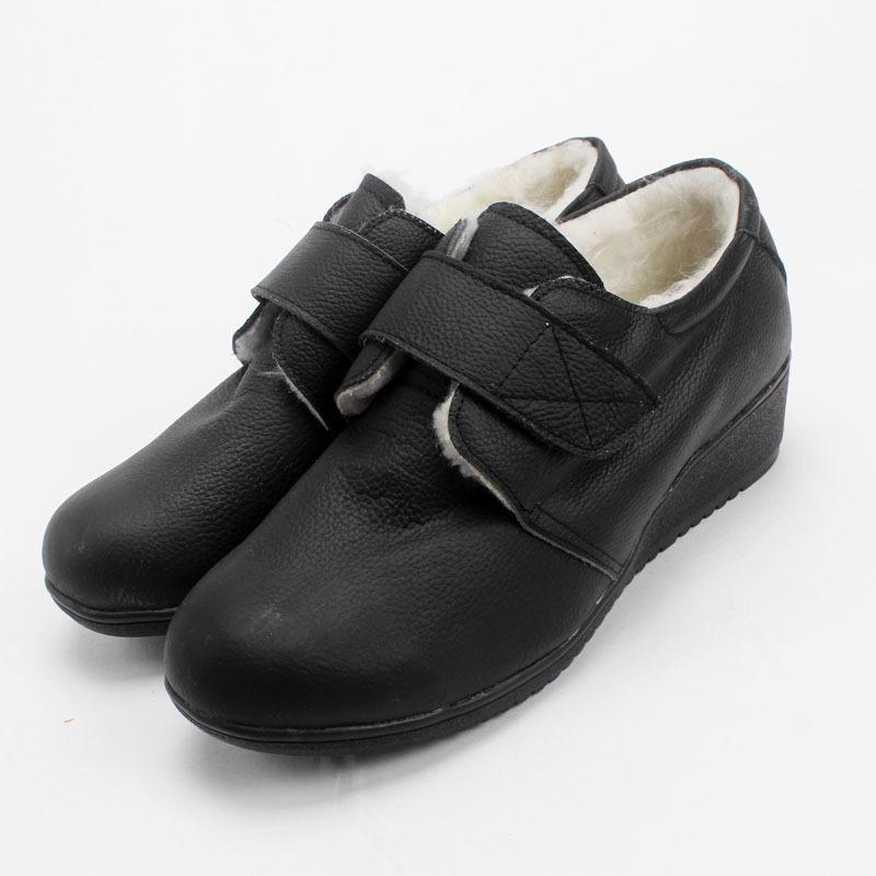 2015新款黑色真皮护士鞋棉鞋牛筋底坡跟舒适女款护士鞋棉靴保暖