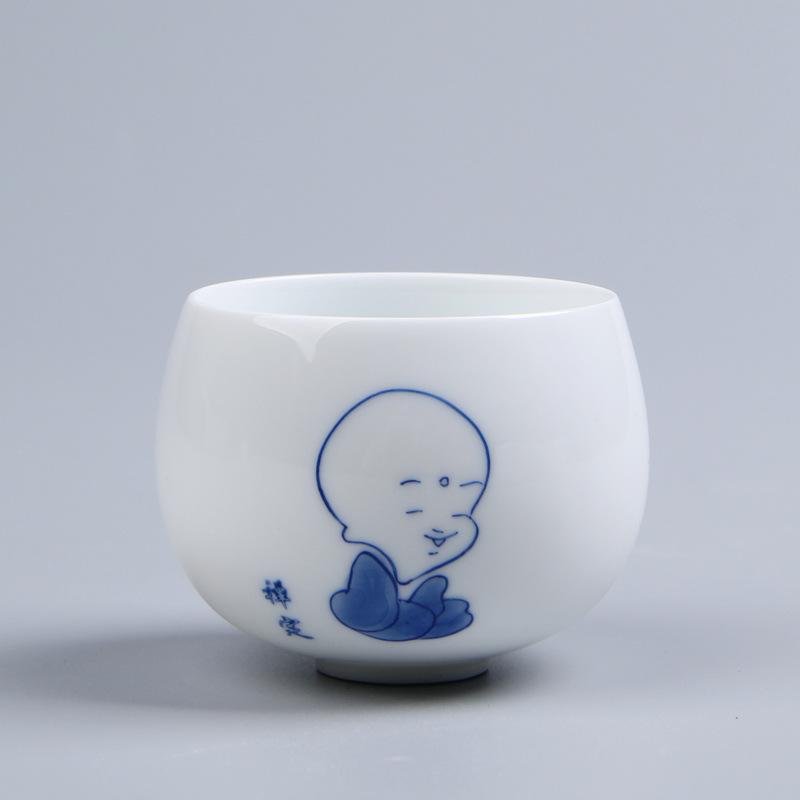 主人杯_手绘高档玉瓷品茗杯 单茶杯陶瓷功夫茶盏主人杯 批发白瓷厂家直销