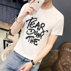供应2017年新款夏装男士短袖圆领修身泼墨图案青少年韩版半袖打底上衣服男装