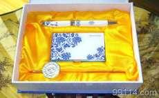【全国包邮,三年质量保证】陶瓷商务礼品,青花瓷笔+名片夹+书签