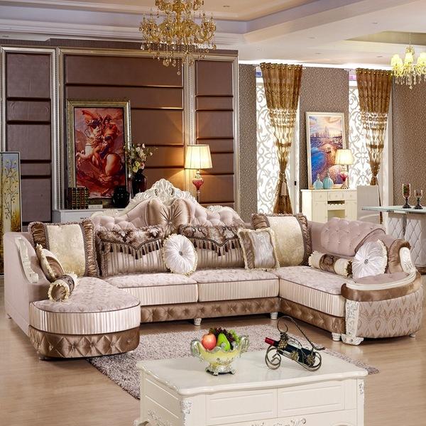 欧式转角绒布沙发 欧式沙发布艺