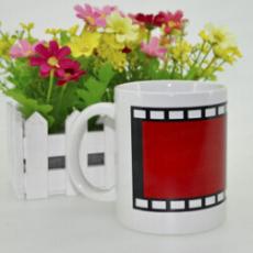供应胶卷变色杯 创意局部变色陶瓷杯 热转印魔术杯批发 陶瓷随手杯