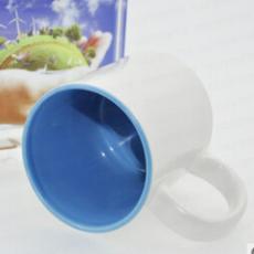 供应广告陶瓷马克杯厂家 个性创意热转印涂层马克杯蓝色内彩杯涂层杯