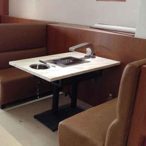 厂家订做大理石火锅桌椅 电磁炉 韩式简易烧烤 连锁火锅店餐.