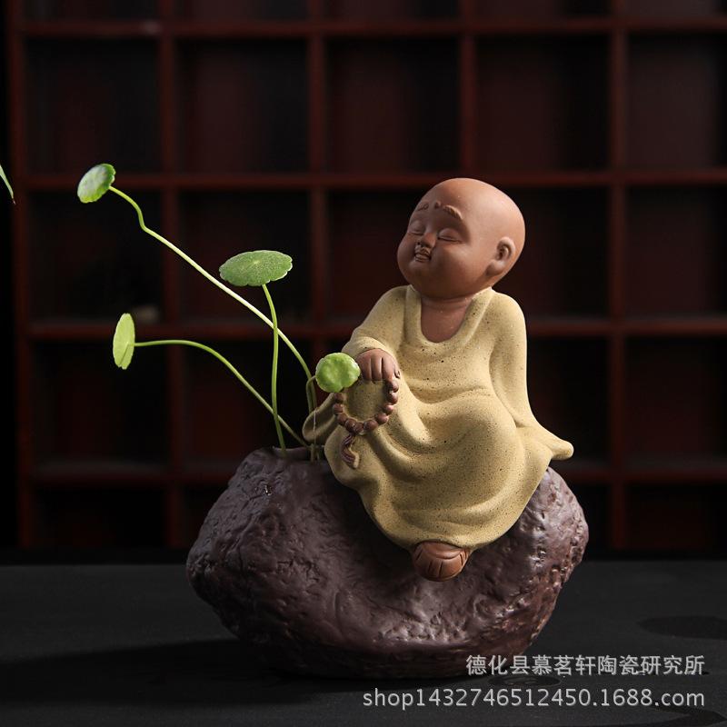 彩砂陶小和尚可爱佛茶宠 可选家居摆件 陶瓷茶道摆件