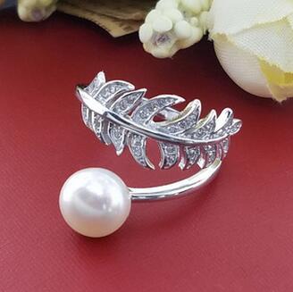 供应 s925纯银树叶戒指开口可调节女款韩版新款天然珍珠指环DIY配件