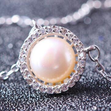 供应 韩版淡水珍珠项铜镀白链女款套链饰品