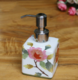 供应中式手绘创意陶瓷浴用正方小型洗手液瓶陶瓷工艺品不锈钢压嘴定制