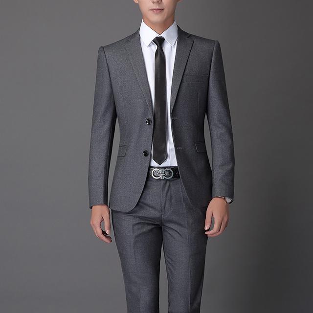 总长无锡工作服定制男士套西工作西装两粒扣西装灰色西装