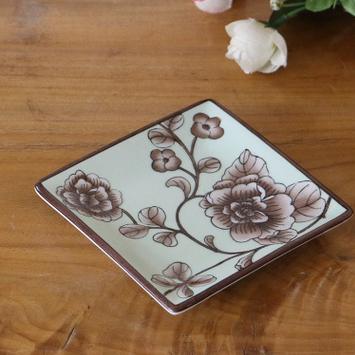 供应新中式创意手绘陶瓷小碟子咖啡杯配套酒店家居浴室用品肥皂碟通用