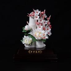 高档创意商务馈赠瓷器工艺礼品中国风瓷花陶瓷摆件小步步高升彩色
