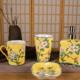 供应新中式创意有柄手绘陶瓷杯情侣杯卫浴用品漱口杯厂家定做