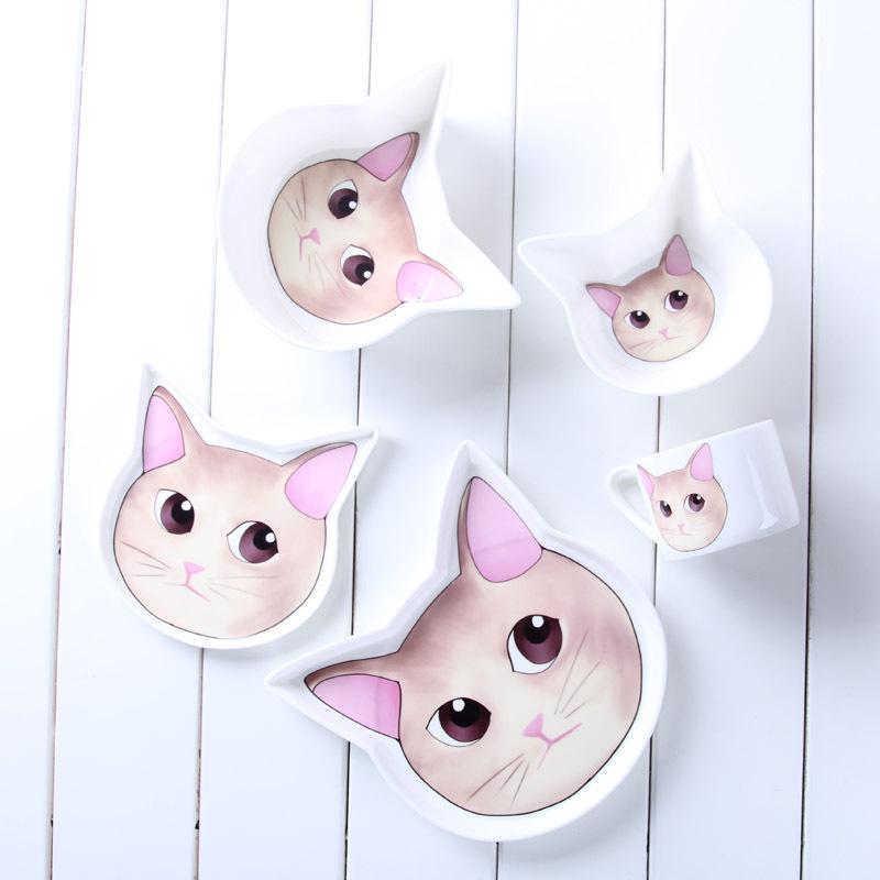 可爱小猫咪主题送礼儿童高档早餐下午茶创意碗盘杯碟环保餐具套装
