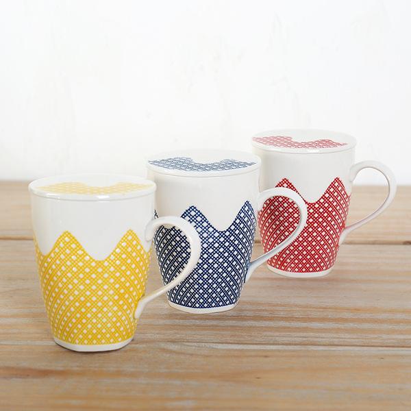 创意花纹陶瓷马克杯 情侣杯子家用水杯 带盖开水杯日用百货批发