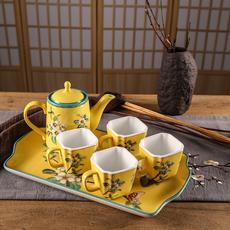 供应中式陶瓷茶具6件套现代创意纯彩绘高身茶具套装酒店高档家具礼品