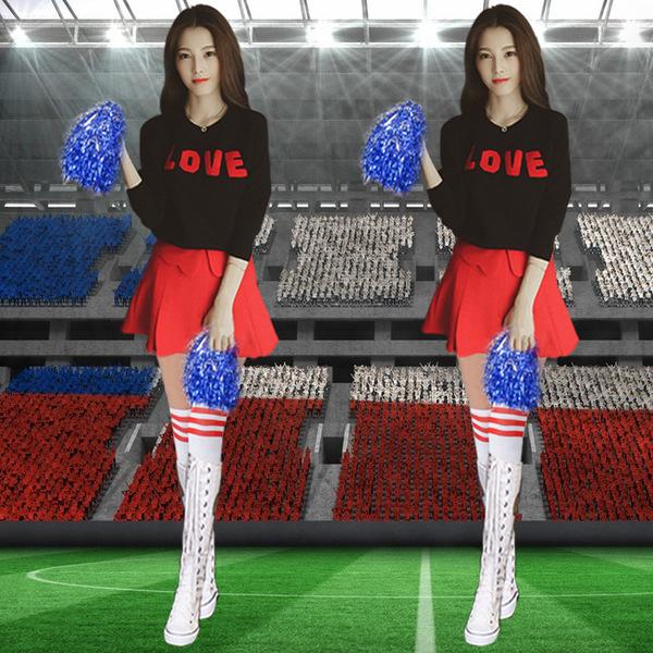 秋冬长袖啦啦操服装健美操服装领舞服装啦啦队演出服足球宝贝服装图片