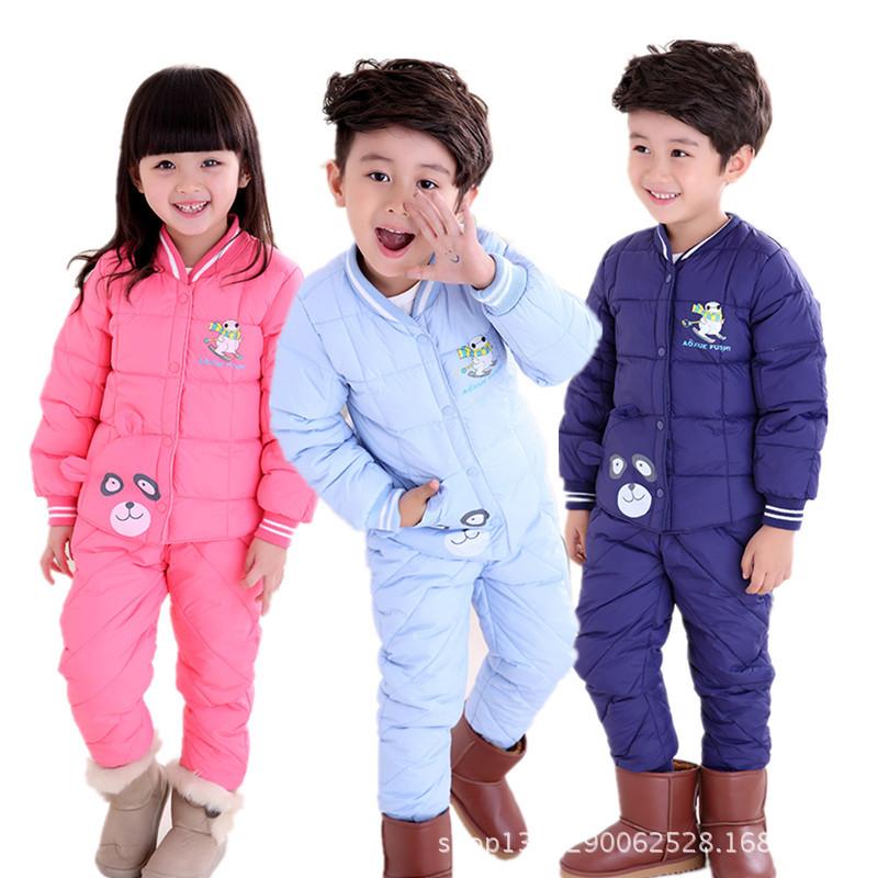 厂家供应 儿童羽绒服内胆套装 加厚男女童羽绒内胆1-7岁宝宝套装