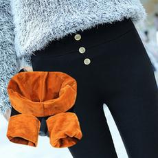 2015新款冬季加绒外穿打底裤女黑色大码加厚长裤子高腰修身小脚裤