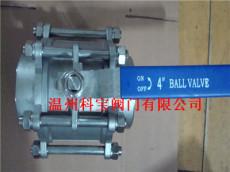 4寸 DN100 Q11F-16P/R CF8/CF8M 三片式丝扣球阀